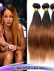 högsta kvalitet 3st / lot 12-26inch peruanska virgin hår rakt ombre jungfru hårförlängningar människohår våg buntar