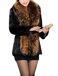 capa caliente de la manga larga elegante piel de imitación de las mujeres