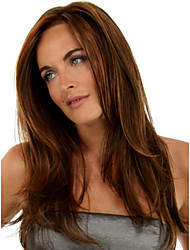 Long Length Straight Hair European Weave Light Brown Hair Wig