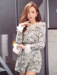 Women's Jacquard / Lace Gray Set , Round Neck Long Sleeve