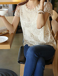 Women's Solid  Lace White Blouse , Round Neck Short Sleeve