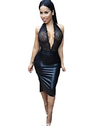 Women's Lace Halter Sleeveless Deep V Neck Slim Hollow Out Backless Sexy Party Casual  Dress