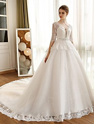 Ball Gown Wedding Dress Chapel Train V-neck Lace / Satin / Tulle with Appliques / Lace