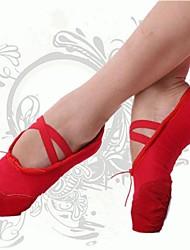Non Customizable Women's Dance Shoes Ballet Canvas Flat Heel Red