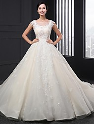 A-line Wedding Dress Chapel Train Scoop Lace with Lace