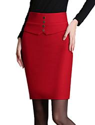 Damen Übergrössen Röcke einfarbig Niedlich Über dem Knie Baumwolle / Polyester / Nylon Micro-elastisch Herbst