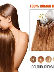 anna bucle anillo micro brasileño extensiones de cabello recto sedoso cabello humano 50g / lot (0.5g / strand) pelo brasileño virginal