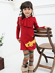 Girl's Spring / Fall Cotton Sequin Long Sleeveed Stand Collar  Bow Kitten  Dress