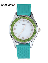 SINOBI Girls Fashion Colorful Quartz-watch Ladies Silicone Diamond Green Wristwatches Women Waterproof Watches Relojes