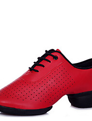 Modern Women's Dance Shoes Sneakers Breathable Leather Low Heel Black/Red