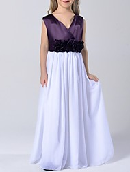 A-line Floor-length Flower Girl Dress - Chiffon / Satin Sleeveless