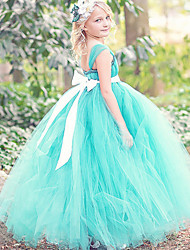 Ball Gown Ankle Length Flower Girl Dress - Polyester Sleeveless Spaghetti Straps with Ribbon by thstylee