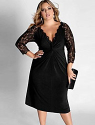 Women's Plus Size Cocktail Dress with Lace Sleeves