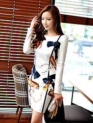 Women's Print White Dress , Bodycon / Work Round Neck Long Sleeve