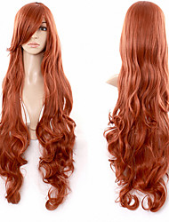 Hot Red Brown Wig Anime Wigs Curly Hair Inclined Bang Synthetic Wigs