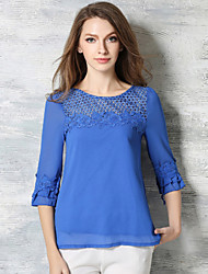 Summer Casual Women Slim Was Thin Embroidered Perspective Gauze Round Neck 3/4 Sleeve Cool Chiffon Shirt
