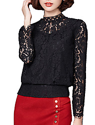 Women's Casual/Daily Simple All Seasons Blouse,Solid Stand Long Sleeve Red / Black Cotton Medium