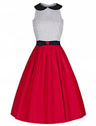 Women's Party/Cocktail Vintage Swing Dress,Solid / Polka Dot Crew Neck Knee-length Short Sleeve White / Black Cotton Spring