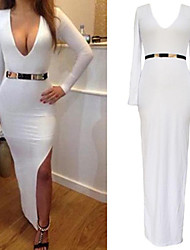 Women's White Long Sleeve Plunge Maxi Sexy Dress with Slit