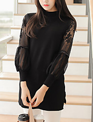 Women's Solid / Lace Black / Gray Dress , Sexy / Lace Long Sleeve SF12A35