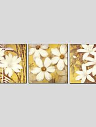 Peint à la main A fleurs/BotaniqueModern / Style européen Trois Panneaux Toile Peinture à l'huile Hang-peint For Décoration d'intérieur
