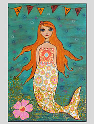 Stretched Canvas Oil Painting Art Mermaid Style Children Painting 60*90CM