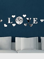 Fashion Top Grade Creative DIY  LOVE Acrylic Mirror Wall Decorative Wall Of Sitting Room  Wall Clock