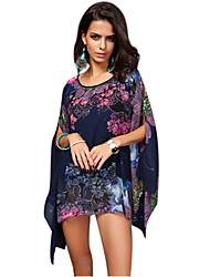 Women's Floral Blue Blouse, Loose Round Neck Short Bat Sleeve Asymmetric Hem