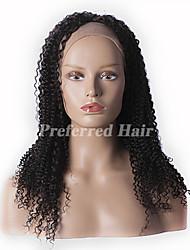 nueva brasileño rizado peluca rizada del frente del cordón del color natural del pelo virginal 10-28inch, enviar regalo gratis