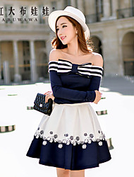 Women's 2016 New Spring Sexy Strapless Striped Blue Shirt Bottoming, Off Shoulder Long Sleeve Top