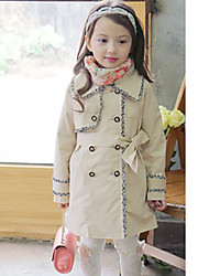 Girl's Casual Solid Trench Coat,Cotton Spring / Fall Pink / Beige Long Sleeve Fall / Winter Season Knee-length Fashion Wear