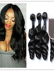 4Pcs/Lot Peruvian Hair!!Cheap  Peruvian Hair Extension Virgin Hair Loose Wave Human Hair Weft With Top Lace Closure