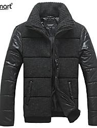 Lesmart Hombre Escote Chino Manga Larga Abajo y abrigos esquimales Negro - PW13573