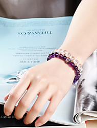 Sweet fresh and elegant natural amethyst crystal CHAIN BRACELET women