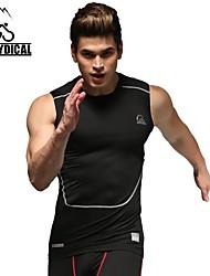 Vansydical Hombres Secado rápido Fitness Tops Blanco / Gris / Negro