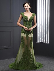 Formal Evening Dress A-line V-neck Sweep / Brush Train Lace with Appliques