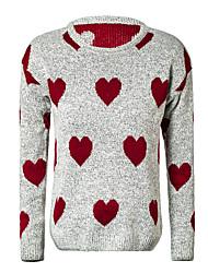 Women's Print Love Knitted Sweater Fashion Warm Sweater