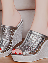Women's Shoes Synthetic Wedge Heel Wedges / Peep Toe / Slippers Slippers Dress / Casual Silver