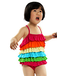 3-5Y Nylon Kids Girls One Piece Swimsuit Rainbow Children Brand Little Girls Swimwear Summer