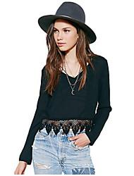 Damen Solide T-Shirt - Acryl Langarm V-Ausschnitt