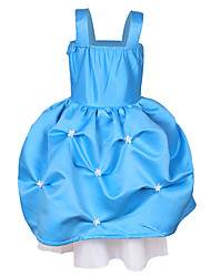 Satin Blue Strap Princess Little Girls' Ball Gown Dress Frozen