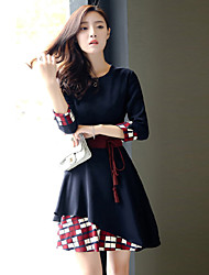 Women's Casual/Plus Size Patchwork / Color Block Dress , Round Neck Ball Gown / Swing Above Knee Cotton