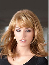 Middle Straight Hair European Weave Light Brown Hair Wig