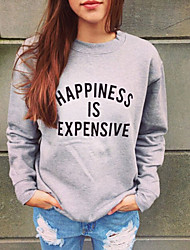 Women's Solid Color Gray Sweats & Hoodies , Casual Hoodie Long Sleeve