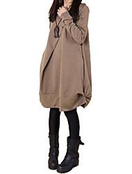 Feminino Solto Vestido,Casual Simples Temática Asiática Sólido Decote Redondo Altura dos Joelhos Manga Longa Primavera OutonoCintura