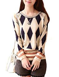 mode col rond tricot élégant de pull des femmes