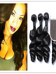 4Pcs/Lot Loose Wave Hair Bundles With Top Lace Closure Malaysian Virgin Hair Extensions Hair Weave Weft 8-30Inch