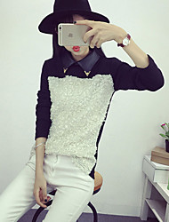 Women's Patchwork White / Black / Yellow Blouse , Shirt Collar Long Sleeve