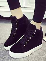 Women's Shoes Fabric Platform Round Toe High-top Fashion Sneakers Outdoor / Casual Black / Gray