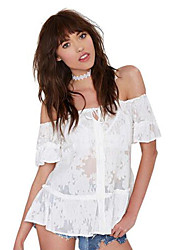 Women's Solid White Blouse , Off Shoulder Sleeveless